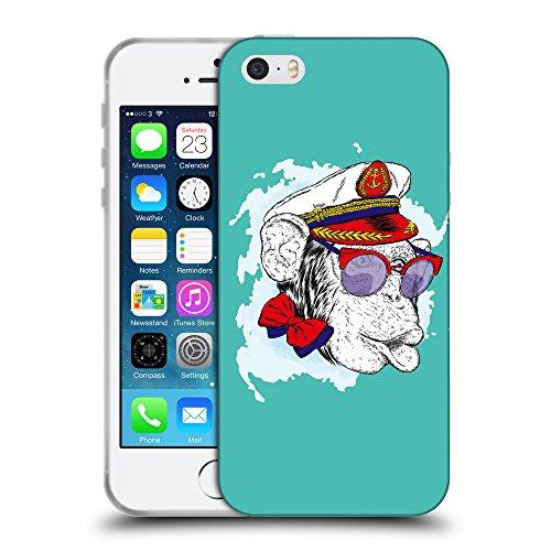 GoGoMobile Coque de Protection TPU Silicone Case pour // Q05000634 Capitaine singe Turquoise // Apple iPhone 5 5S 5G SE