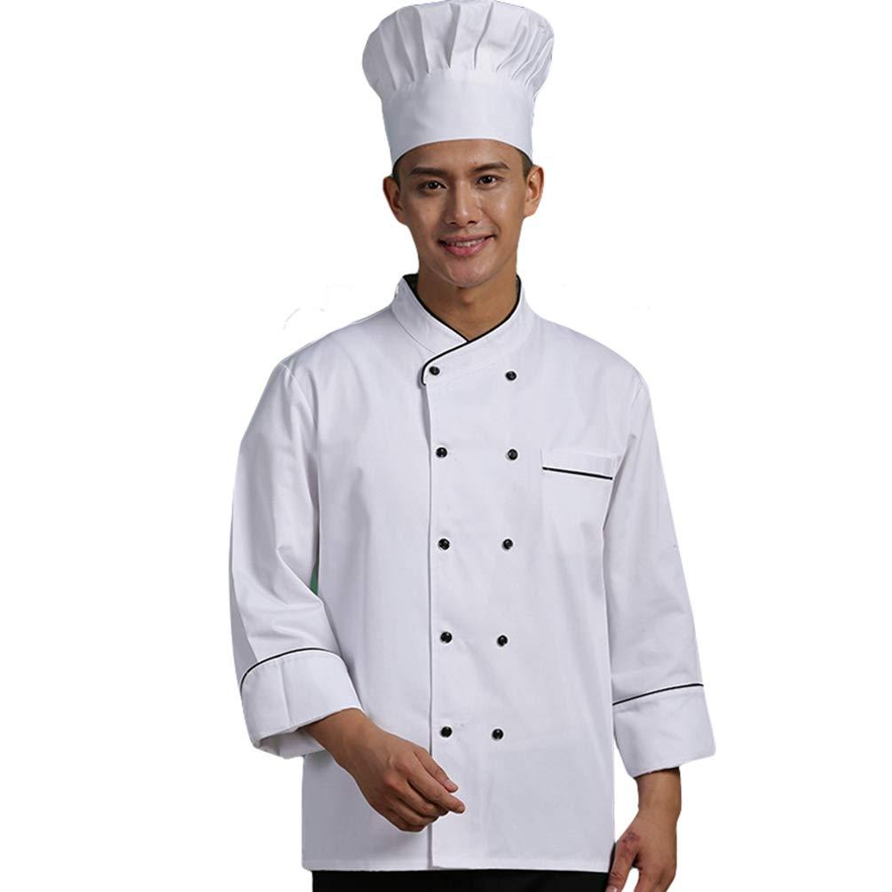 Dooxii Unisex Herren und Damen Herbst Winter Langarm Kochjacke Kuchen Backen Kü che Hotel Uniform Berufsbekleidung