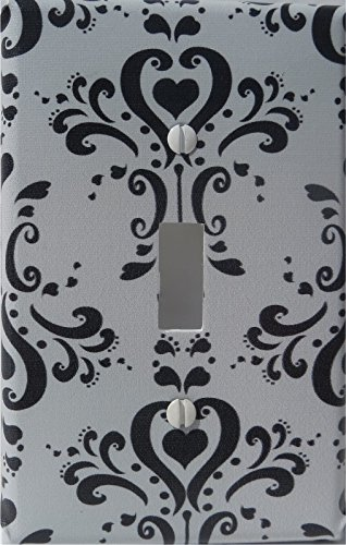Black and Gray Damask Light Switch Plate / Single Toggle / Damask Nursery Wall Decor (Single Toggle Light Switch Plate)