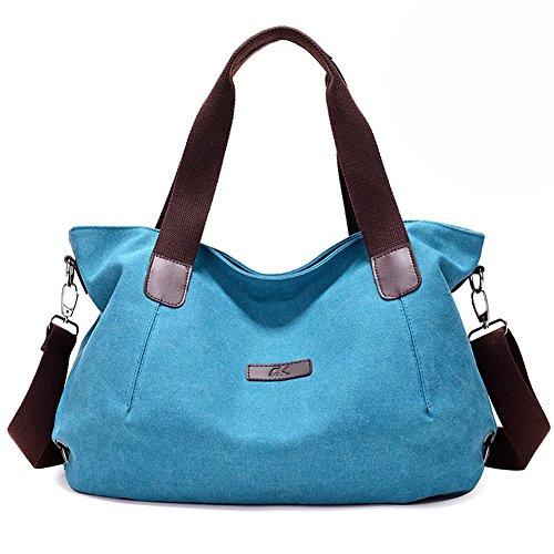 Women Fashion Canvas Casual Tote Bags Hobo Shoulder Bag Blue - 4