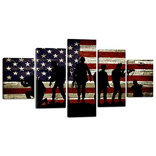 Canvas American - USA US American Flag Military Soldiers Army Wall Art Canvas Prints Thin Blue Red Line Home Decor Pictures for Living Room Bedroom 5 Panel Large Poster Painting Framed Ready to Hang (60