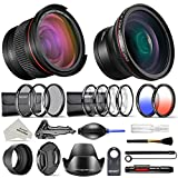 Neewer 52mm Professional Accessories Kit for Nikon DSLR Camera: 0.43X HD Wide Angle Lens, 0.35X Fisheye Lens, Mini Desktop Tripod Stand, UV CPL ND4, Macro Close-up Filters, Graduated Color Filters