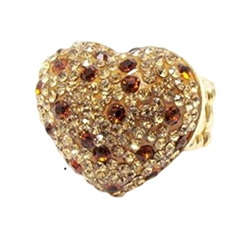 Heart Stretch Ring CST Leopard Print Amber Crystal - Leopard Heart Crystal