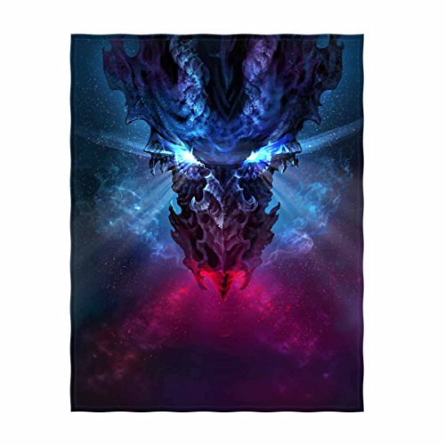 QH 58 x 80 Inch Gothic Style Dragon Print Super Soft Throw Blanket for Bed Couch Sofa Lightweight Travelling Camping Throw Size for Kids Adults All Season