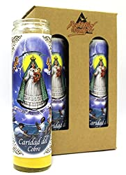 "4-Pack Our Lady of Charity | 8"" Tall Unscented Religious Prayer Candles in Gift Box 