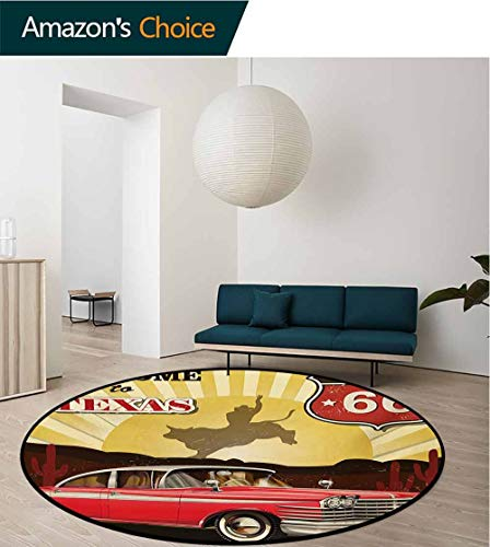 - RUGSMAT Vintage Warm Soft Cotton Luxury Plush Baby Rugs,Welcome to Texas Signboard Poster with Cadillac Art Car Cowboys Town Rodeo Design Kids Teepee Tent Game Play House Round,Round-63 Inch
