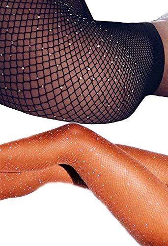 DancMolly Sparkle Rhinestone Fishnet Stockings Crystal High Waist Mesh Hollow Out Pantyhose for Women Tights Set (One Size, 2 Pair Rhinestone Fishnet Stockings,Black+Nude) - Nylon Fishnet Stocking