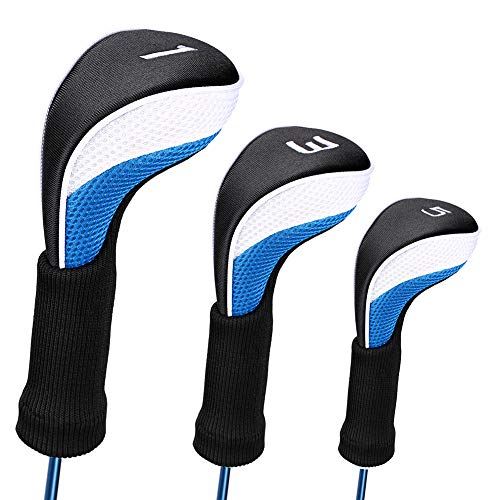 LONGCHAO Golf Head Covers Driver 1 3 5 Fairway Woods Headcovers Long Neck Neoprene Protective Covers Fits All Fairway and Driver 3pcs