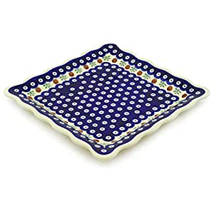 Polish Pottery Boleslawiec Platter, Square Plate, Large, 24cm in RED DOT pattern