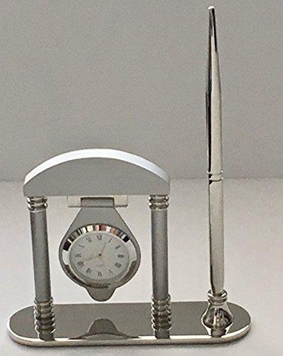 RX-789 Desk Clock Pen Brushed High Polished Silver Color