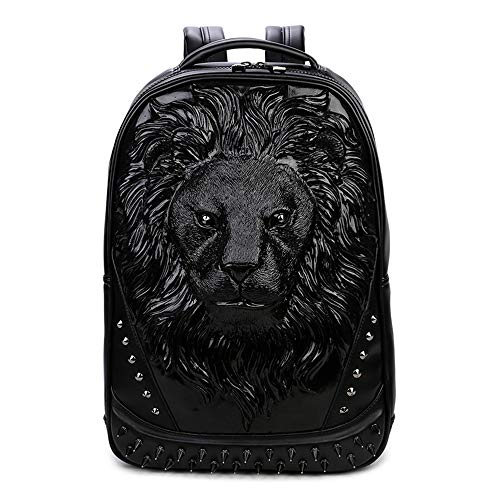 WWGG 3D Backpack PU Laptop Bag Creative Lion