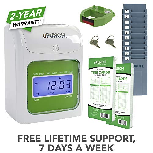 uPunch Starter Time Clock Bundle with 100-Cards, 1 Time Card Rack, 1 Ribbon & 2 Keys ()