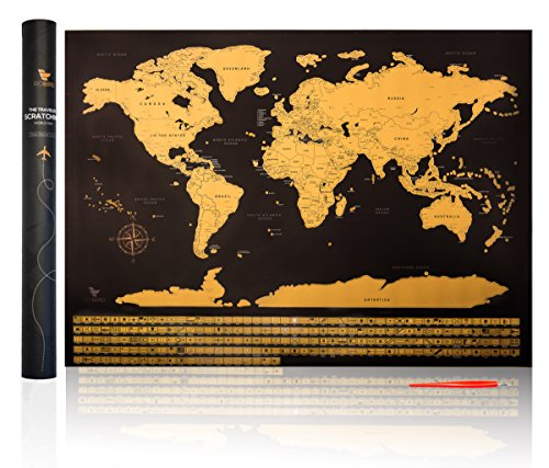 Robird Premium Quality World Traveler Map - Large Black & Gold Edition World Map Poster 32.5 inches X 23.4 inches - Perfect Gift For Any Traveller (Travelers World Map)