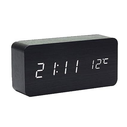 MUTANG Despertador de Madera Reloj Digital para Habitaciones Comando de Voz LED Reloj de Escritorio pequeño