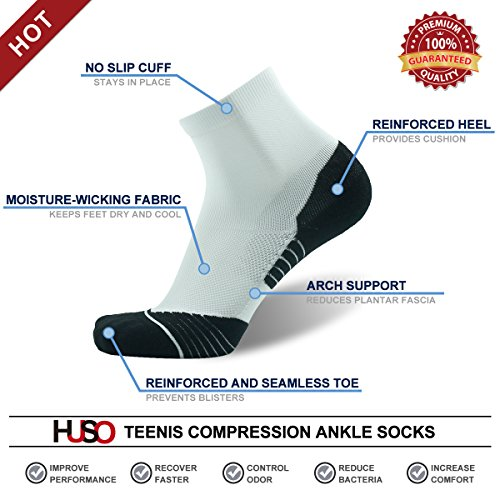 Tennis Compression Socks HUSO Elite Reinforce Support Athletic Ankle Hiking Football Socks for Men 2 Pairs by Huso (Image #2)