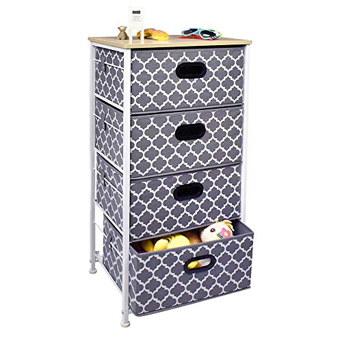 Vertical Dresser Storage Tower 4 drawer chest,Sturdy Steel Frame, Wood Top, Easy Pull Fabric Bins Organizer Unit for Bedroom, playroom, Entryway, Closets Lantern Printing ()
