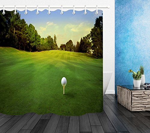 LB Outdoor Golf Course Forest Lawn Shower Curtain Set for Bathrooms, Sports Theme Landscape House Decorations, 70x70 Inch Shower Window Curtain Waterproof