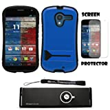 Blue Hybrid Tough Protective Shield Cover Case with Kick Stand For Motorola Moto X Android OS V4 2.2 (Jelly Bean) + Motorola Moto X Clear Screen Protector + Supertooth Disco Bluetooth Speaker with AUX Cable + an eBigValue Determination Hand Strap