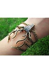 Vintage Style Antique Bronze Deer Antler Pendant Women Jewelry Bangle Chain Cuff Bracelet SL2270