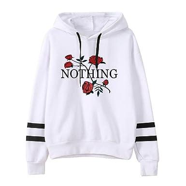 27d957eceae23 Sweat-Shirt à Capuche,Femmes Imprimer Manches Longues Hoodie Sweatshirt  Pull Pullover Tops Blouse