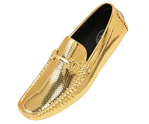 (Amali Men's Perforated Patent Driving Moccasin Shoe, Easy Comfortable Slip On Loafer, Style Rila)
