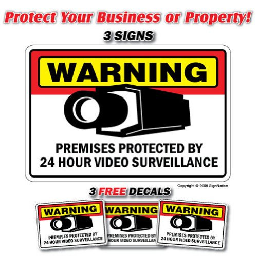 SECURITY SURVEILLANCE SIGN 3 Signs & 3 Free Decal video| Indoor/Outdoor | Business, Garages, Home, Offices | SignMission Wall Plaque