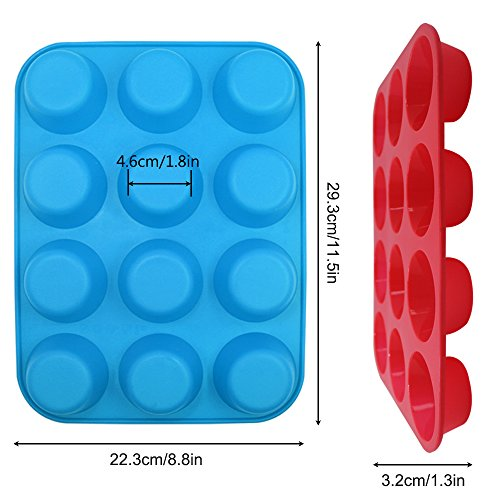 12-Cup Silicone Muffin & Cupcake Baking Pan, YuCool 3 Pack Silicone Molds for Muffin Tins, Cakes, Non-stick Mould (Orange, Red, Blue) by YuCool (Image #2)