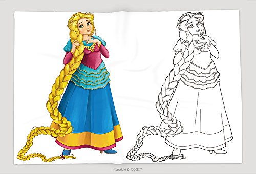 Supersoft Fleece Throw Blanket Cartoon Beautiful Girl Smiling Isolated With Coloring Page Illustration For Children (Halloween Wolf Coloring Pages)