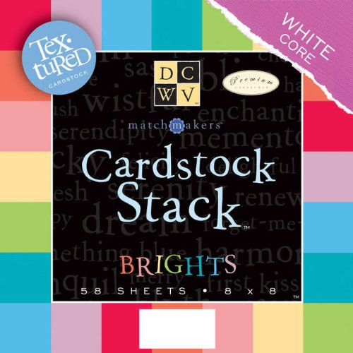 Cardstock Stack 8x8 58/Pkg-Bright Texture Solids W/White Core