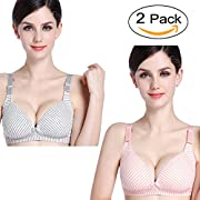 Womens 2 Pack Comfy Cotton Nursing & Maternity Sleep Bra Wireless Front Closure Bralette for Breastfeeding with Extenders Clips