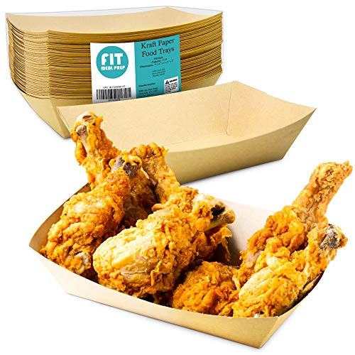 [250 Pack] 5 lb Heavy Duty Disposable Kraft Brown Paper Food Trays Grease Resistant Fast Food Paperboard Boat Basket for Parties Fairs Picnics Carnivals, Holds Tacos Nachos Fries Hot Corn Dogs