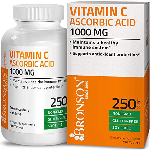 (Vitamin C 1000 mg Premium Non-GMO Gluten Free Ascorbic Acid - Maintains Healthy Immune System, Supports Antioxidant Protection - 250 Tablets)