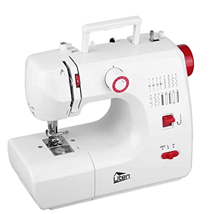 Mini máquina de coser manual electrica maquina coser portatil 16 Puntada (Rojo+ blanco): Amazon.es: Hogar