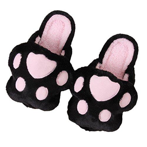Miyang Winter Schattige Kat En Hond Warme Huis Slippers Slofjes Voetafdruk-zwart