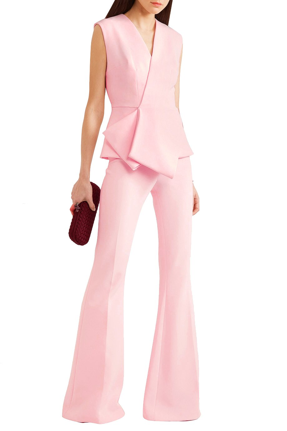 Hego Women's Pink V Neck Sleeveless Modern Suit Blazer Pant 2 Pieces Sets BH5557 (Pink, S)