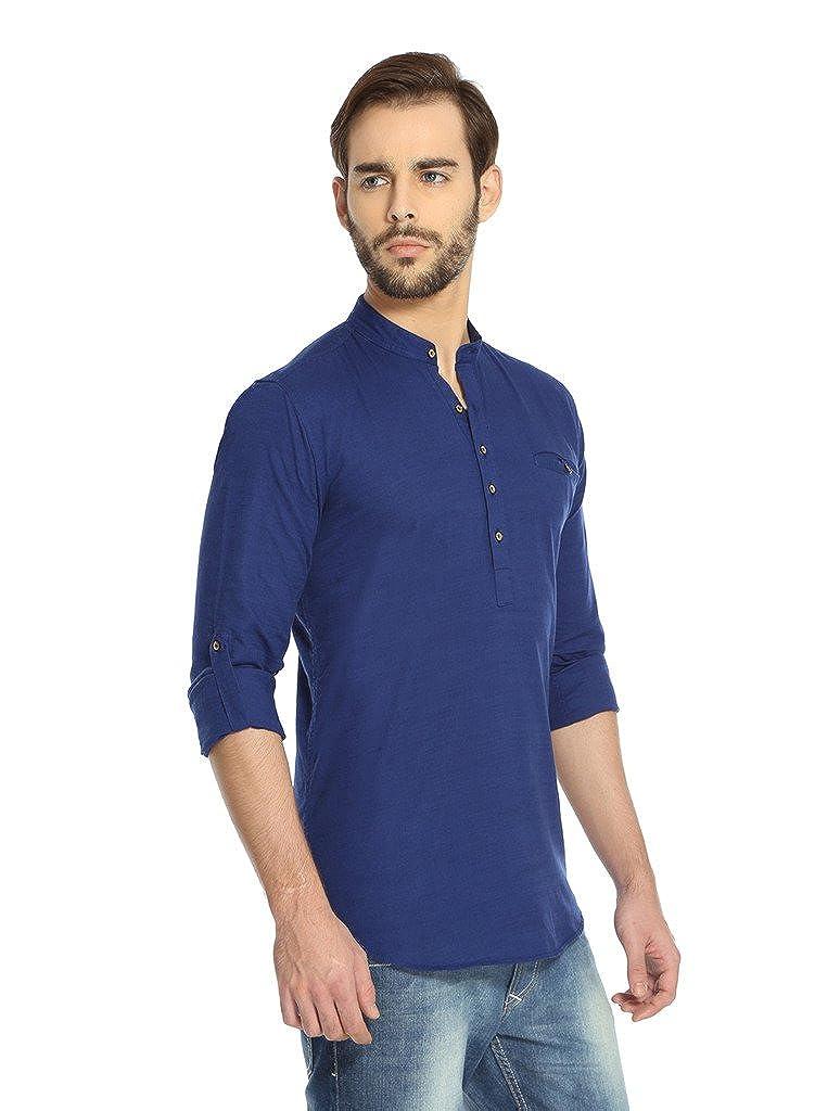 569942daebc Rockstar Jeans Men s Linen Kurta (Rj Kurta Dark Blue X-Large)  Amazon.in   Clothing   Accessories