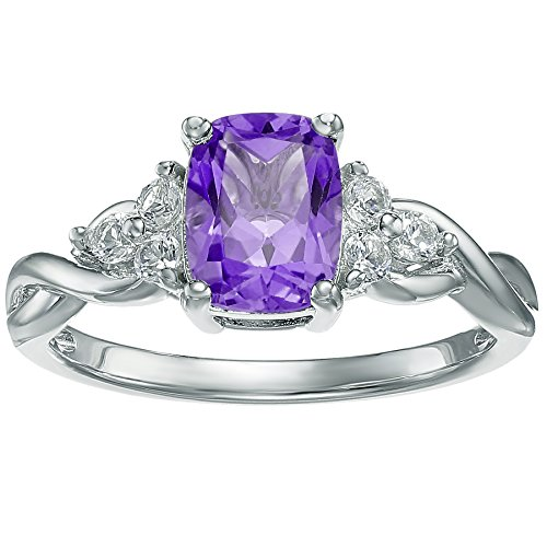 10K White Gold, Purple Amethyst and White Topaz Cushion Ring Size 9 by Metro Jewelry