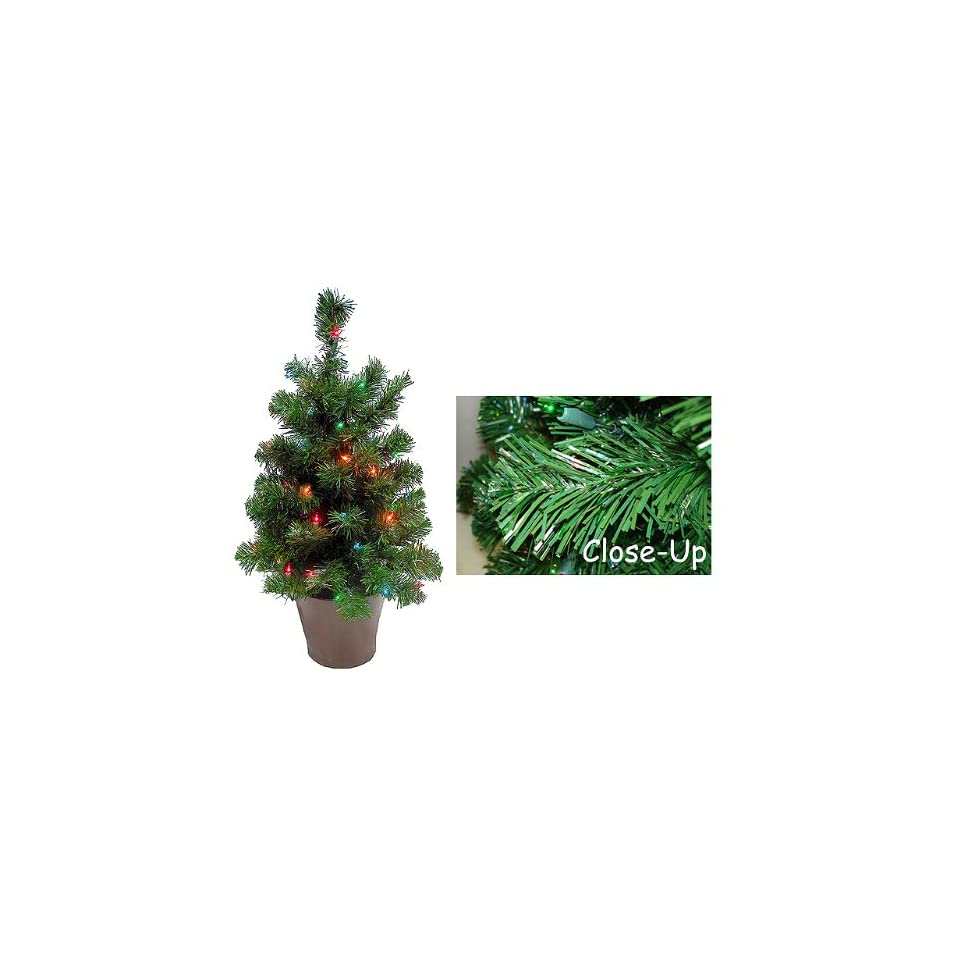 30 Pre Lit Potted Spruce Artificial Christmas Tree Multi Lights