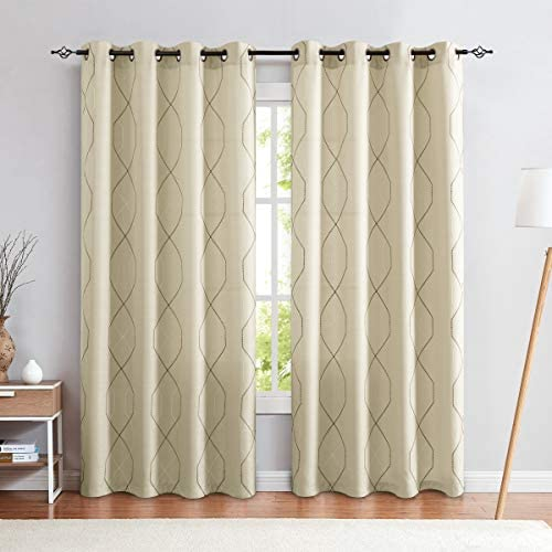 jinchan Sheer Embroidered Curtains for Living Room Grommet Top Embroidery Curtains for Bedroom 95 L Beige