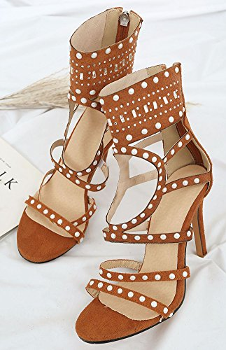 Aisun Women's Stylish Gladiator Zip up High Stilettos Sandals with Rivet Brown RaWpGWG