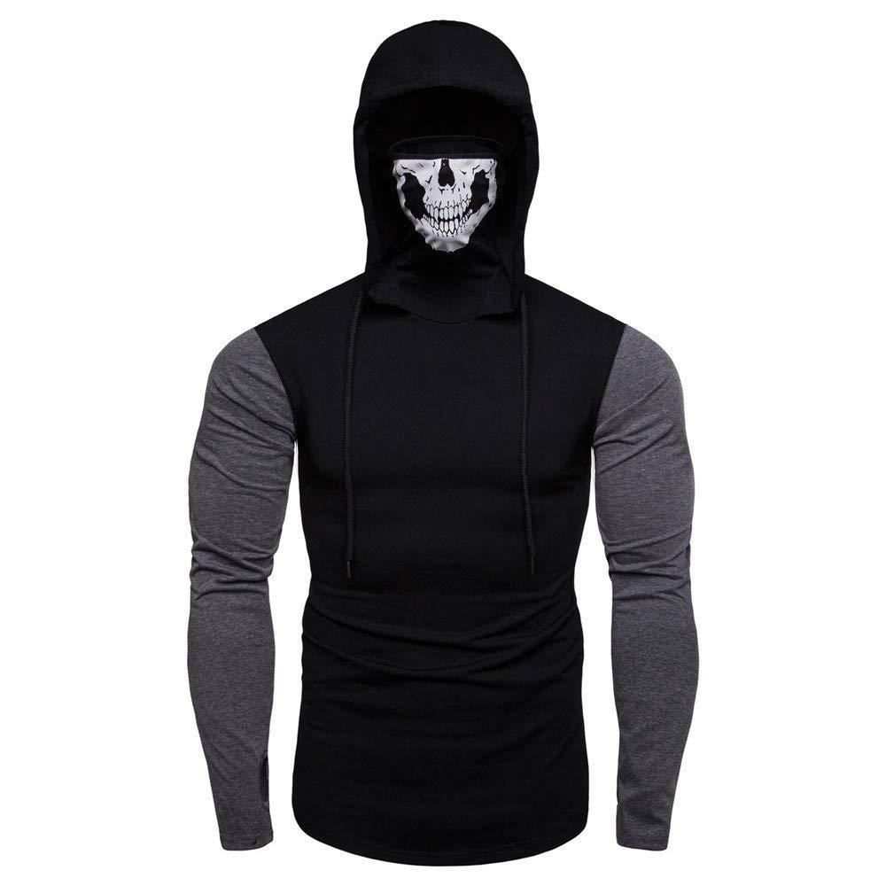 Tayaudy Mens Shirts Mask Skull Pullove Long Sleeve Hoodie Sweatshirt Hoodies Top Blouse