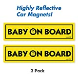 Wall26 Reflective Baby On Board Magnetic Car Signs/ Bumper Stickers(Set of 2) Safety Caution Sign