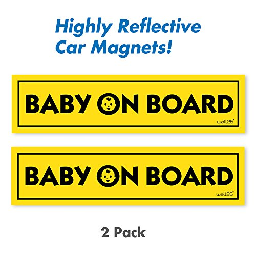 Wall26 Reflective Baby On Board Magnetic Car Signs/ Bumper Stickers(Set of 2) Safety Caution Sign (Reflective Bumper Sticker)