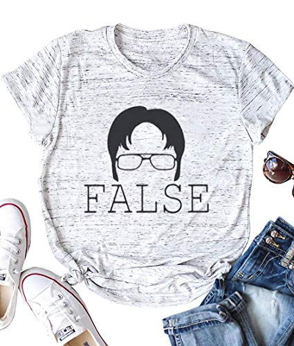 AEURPLT Womens The Office Tshirt False Funny T Shirt Graphic Tee Shirts Tops Grey