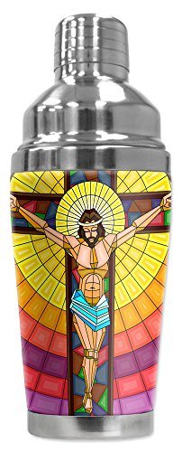 Mugzie 16 Ounce Stainless Steel Cocktail Shaker with Insulated Wetsuit Cover - Jesus On Cross Stained - Shaker Glass Art Martini