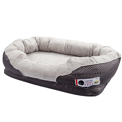 BarksBar-Gray-Orthopedic-Dog-Bed-Snuggly-Sleeper-with-Grooved-Orthopedic-Foam-Extra-Comfy-Cotton-Padded-Rim-cushion-and-Nonslip-Bottom