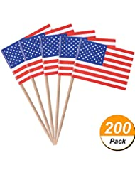 TecUnite 200 Pack American Flag Picks Toothpicks Cocktail Sticks Cupcake Toppers for Patriotic Theme Party 4th of July