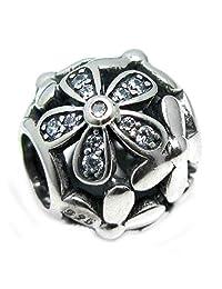 .925 Sterling Silver Daisy Flower Blossom Clear CZ Crystal Bead For European Chamilia Biagi Troll Pandora Charm Bracelets
