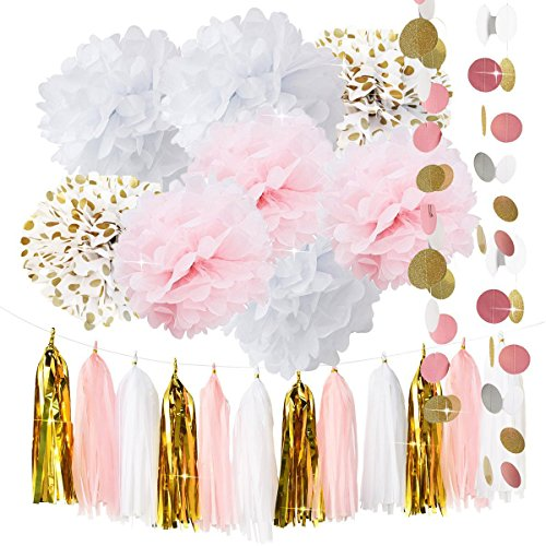 Qianu0027s Party Baby Pink Gold White Baby Shower Decorations For Girl/Party  Decorations First Birthday Decorations Tissue Paper Pom Pom Tassel Garland  Circle ...