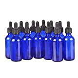 12 Pack,1oz 1 oz,Blue Glass Bottle Bottles with Black cap and Glass Droppers.Using for Essential Oils,Lab Chemicals,Colognes,Perfumes & Other Liquids.FREE 12 Chalk Labels
